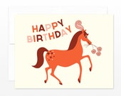 SALE Horse Birthday Greeting Card, Happy Birthday Card, Horse Card, Show Pony Card, Card for her, Daughter Card, Horse Lover, Girl Card