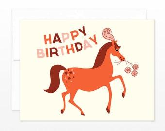 SALE Horse Birthday Greeting Card, Happy Birthday Card, Horse Card, Show Pony Card, Card for her, Daughter Card, Horse Lover, Girl Card