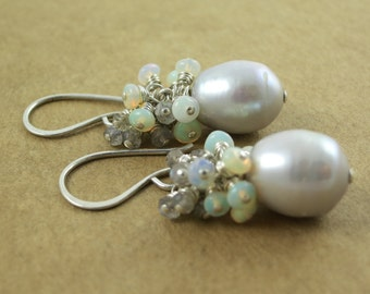 Grey Fresh Water Pearl, Labradorite And Opal Earrings