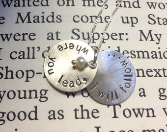 Stamped Sterling Silver Where You Lead, I Will Follow Gilmore Girls Necklace