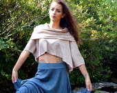 Cowlneck Crop Top in organic hemp jersey. Made to order. Layering Piece. Hemp Clothing.