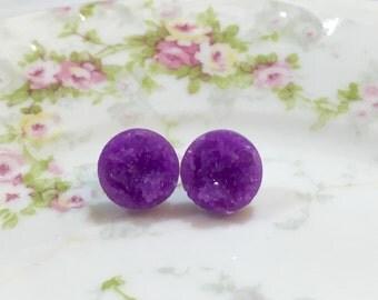 Purple Druzy Studs, Purple Druzy Stud Earrings, Purple Stud Earrings, Purple Drusy Studs, Druzy Jewelry, Surgical Steel Studs (SE5)
