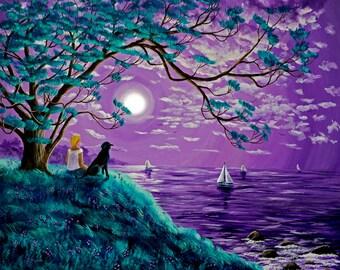 Giclee Fine Art Print Black Lab Dog Lavender Moon Ocean Seascape Woman Meditating Tree Labrador Zen Meditation Purple Wildflowers Sail Boats