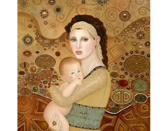 BK Lusk Original Oil Painting Art Nouveau Icon Mother Child Baby Infant Angel Gold silver leaf Foil