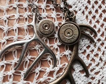 Antler Bullet Necklace -Antique Silver or Antique Bronze, Bullet Necklace, Bullet Jewelry for Women, 357 Sig, 7mm Mag