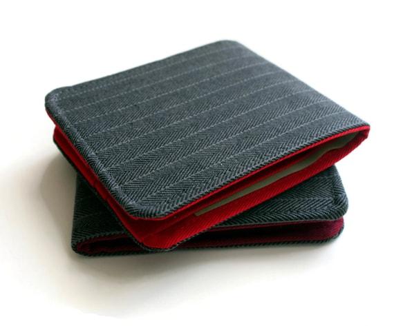 OhSoRetro Mens Wallet / Super Thin Vegan Billfold Wallet / Grey Herringbone / Non-Leather Wallet