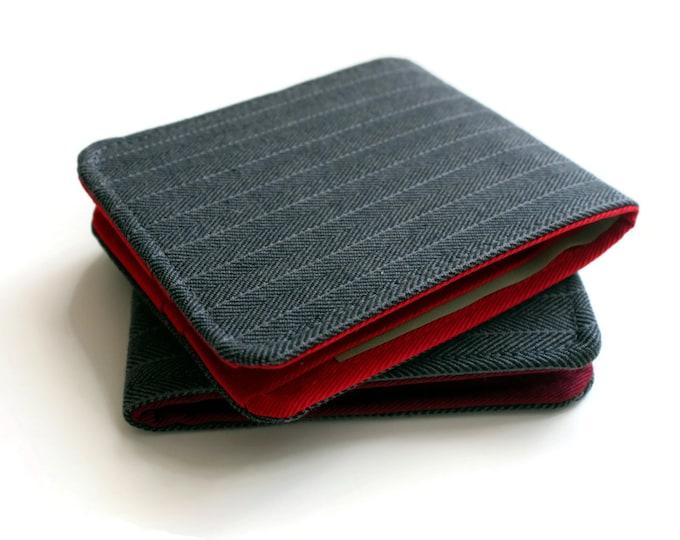 Mens Minimalist Wallet / Slim Bifold Wallet / Grey Vegan Herringbone