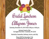 Fall Bridal Shower Invitation Bride to be Silhouette Elegant Damask Bridal Shower Luncheon Autumn Colors Invite 5x7 Digital JPG File (522)