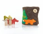 Busy book Fox play set wool book Waldorf inspired woodland gnomes Quiet book Ready to ship