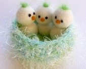 Baby chicks in a nest bird nest nature table baby bird nest set Waldorf inspired ready to ship