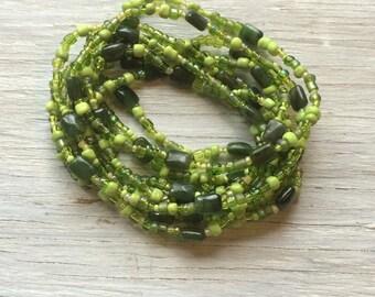 Green long seed bead stretch necklace, multi wrap bracelet, gemstone and glass beaded bracelet
