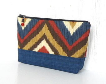 Large Zipper Pouch, Cosmetic Case, Chevron Makeup Bag - Bargello in Red, Gold, Blue and Brown