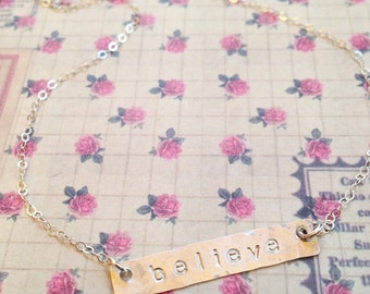 Custom Hand Stamped Sterling Silver Bar Necklace
