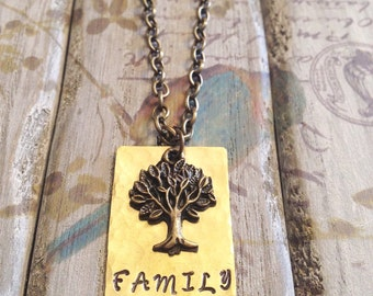 FAMILY - Custom Hand Stamped Hammered Brass Necklace with tree charm
