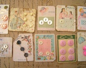 Vintage 1930's to 1950's lot of Button Cards Pink glass Pinwheel Pearl Baby Lady Gown