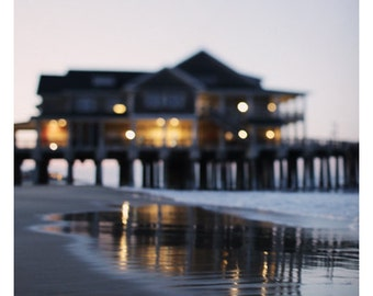 Landscape Photograph - Nature Photography - Carolina Lights - Pier - North Carolina - Beach Photograph - Coastal Art - Oversized Art - Bock