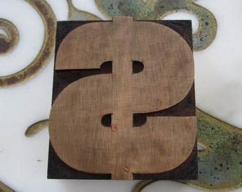 Dollar Sign Antique Letterpress Wood Type Printers Block