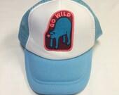 """Toddler/Kids Trucker Hat- light blue with """"Go Wild..."""