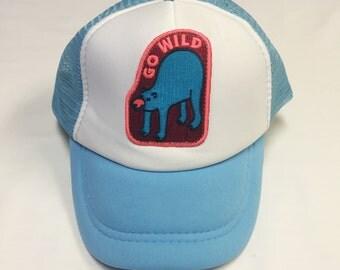 "Toddler/Kids Trucker Hat- light blue with ""Go Wild"" patch"