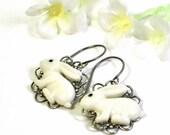White Rabbit Earrings Bunny Dangle Earrings Bippy and Boppy - Bunny Earrings - Bunny Rabbit - Kawaii Bunny Earrings