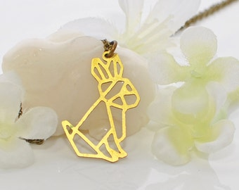 Rabbit Necklace Geometric Bunny Maize - Bunny Pendant - Rabbit Jewelry - Pet Bunny Rabbit - Bunny Necklace - Rabbit Pendant - Nature Lover