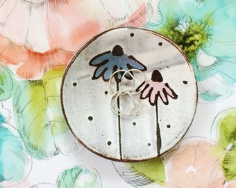 Ceramic ring dish - pink and blue flowers and polka dots - pottery dish pink blue brown rustic white - ceramic spoon rest jewelry dish