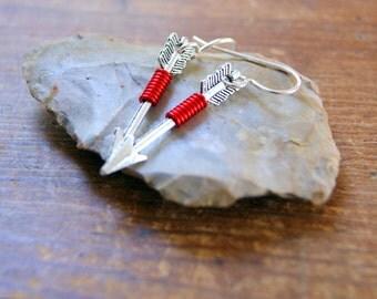 Silver Arrow Earrings - Red Wire Wrapped Arrow Earrings - Arrow Earrings - bohemian jewelry - boho chic - Sagittarius - Woodland Wedding
