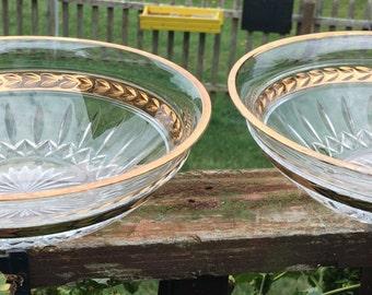 """Vintage Lenox Pair of Crystal Bowls Gold Rim Trim """"Majestic"""" Pattern Cut Glass Serving Bowl Centerpiece Laurel Leaf Starburst Flared"""