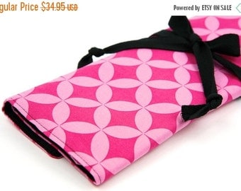 Sale 25% OFF Large Knitting Needle Case - Pink Cathedral - black pockets for all sizes or paint brushes