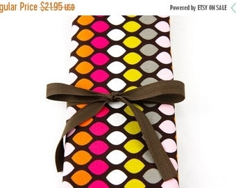 Sale 25% OFF Short Knitting Needle Case Organizer - Cocoa Diamonds - brown pockets for circular, double pointed, interchangeable or travel