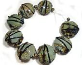 Handmade Lampwork  Beads,  Raku Beads, Raku Shards,  Glass Lentils, Raku Lentils