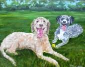 Custom Pet Portrait Painting, Fine Art Oils on Canvas Dog Portrait