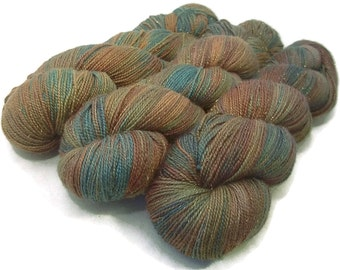 Handpainted Sparkle Fingering Yarn - Gold Dust - 100 gm COPPER HILLS - Merino Wool Nylon Stellina Sock Yarn - Lot #150710