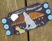 Housewarming gift, Howling Wolf Mug Rug, Southwest, Cactus, Mountains