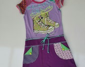 Size 10 (55 inch height) upcycled girls dress with print sneakers