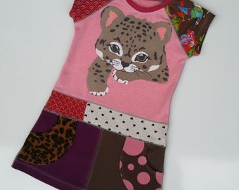 Size 4T (41 inch height) Upcycled shirt girls dress Cheetah cub