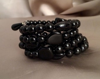 Handmade 5 Row Wrap Bracelet with Black Glass Vintage Japanese Beads