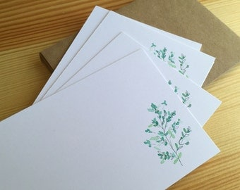 Watercolor Flat Note Stationery Set - Kentucky Bluegrass - Personalized Wildflower Stationery - Botanical Note Cards - Set of 8