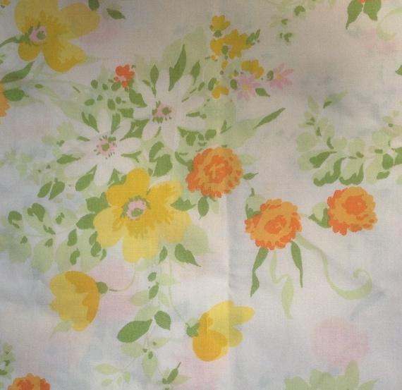 Yellow and Orange Floral Pillow Case - 1970s - Vintage Linens