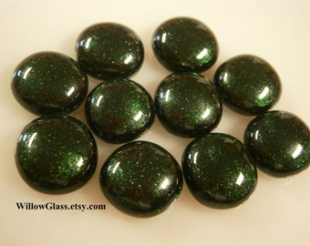Fused Glass Cabochons, 10 Green Aventurine Sparkle , Glass Cabs, Willow Glass