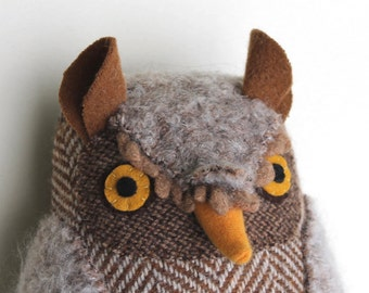 Beige Wool Horned Owl doll textured pillow softie plush