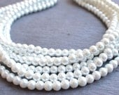 The Michelle- White Glass Pearl Statement Necklace