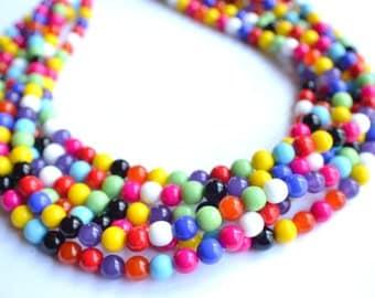 The Michelle- Multi Color Czech Glass Statement Necklace