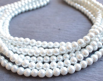 Michelle - White Pearl Bridesmaid Statement Necklace