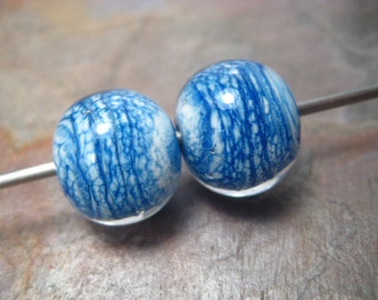 Denim rounds encased (2) lampwork glass beads