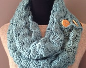 Turquoise Infinity Scarf Chunky Aqua Neck Warmer Reclaimed Wood Buttons