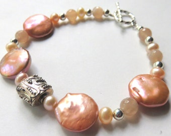 Freshwater Coin Pearl Bracelet, Peach Moonstone and Pearl Bracelet, Apricot Freshwater Pearls and Sterling Silver, Nautical Pearl Jewelry
