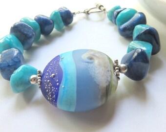 Chunky Blue Gemstone Bracelet - Chinese Quartz and Polymer Clay - Boho Jewelry - Ocean Blue Beaded Bracelet - Beach Vacation Jewelry