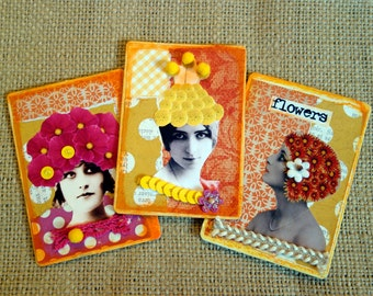 Flower Head Ladies Magnets Mixed Media Recycled Upcycled Handcrafted Refrigerator Magnets Original Collage Work Vintage one of a kind