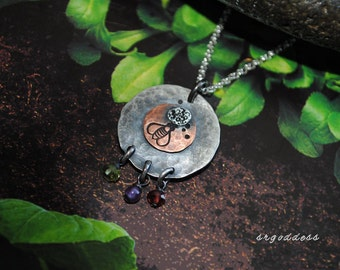 HONEY BEE handmade oxidized hammered sterling silver and copper pendant necklace by srgoddess